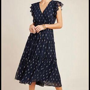 Maeve Midnight Shimmer Metallic Ruffles tie Dress